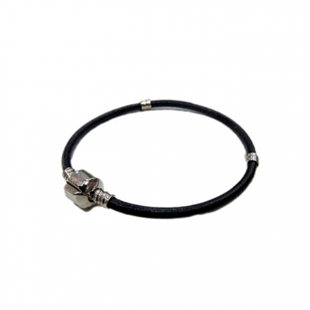 Pulseira Pandora Couro liso Preta 18cm , 19cm ou 20cm - PAN004