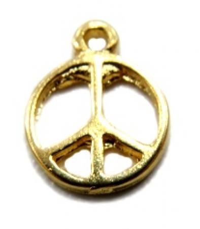 Pingente Paz e amor médio dourado- PTD013