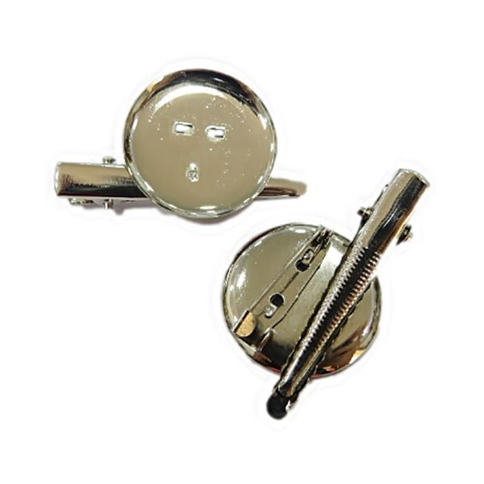 Base de broche c/ bico de pato grande níquel 30MM  (06 peças) - BRN003