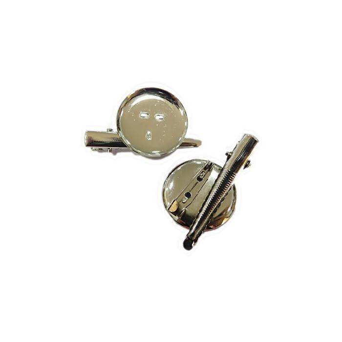 Base de broche c/ bico de pato pequena níquel 20MM  (Atacado e Varejo) - BRN004