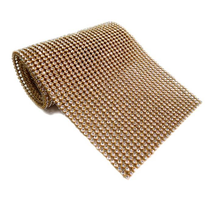 Manta de strass dourada 45x10cm- MS001