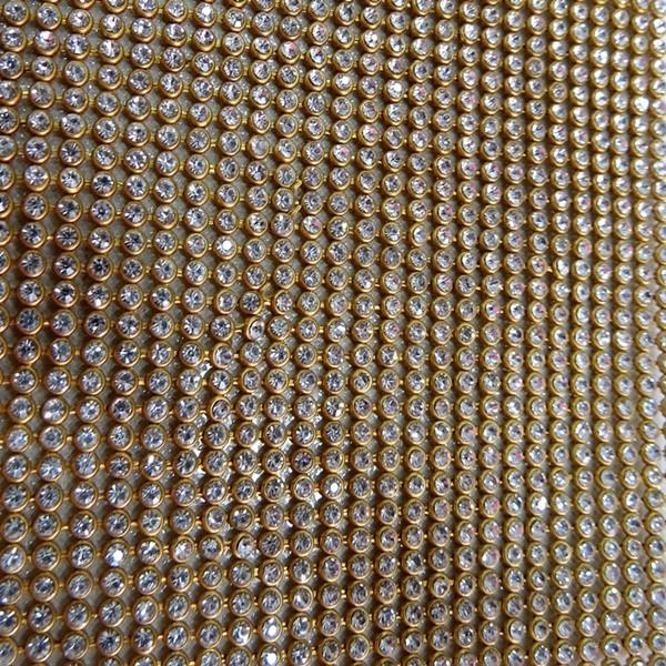 Manta de strass dourada 1,20x 45cm - MS001 ATACADO