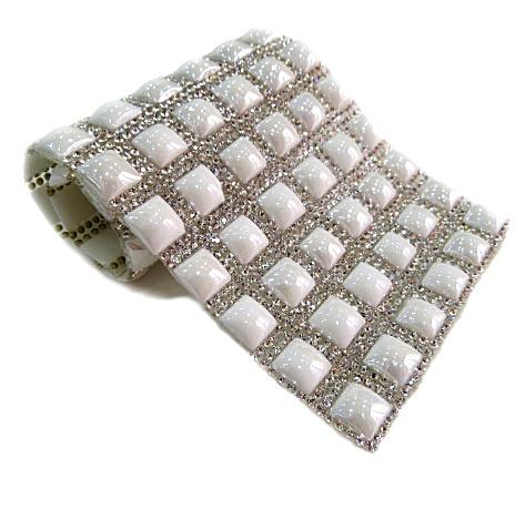 Manta de strass quadrada branca 24x 40cm - MS006 ATACADO