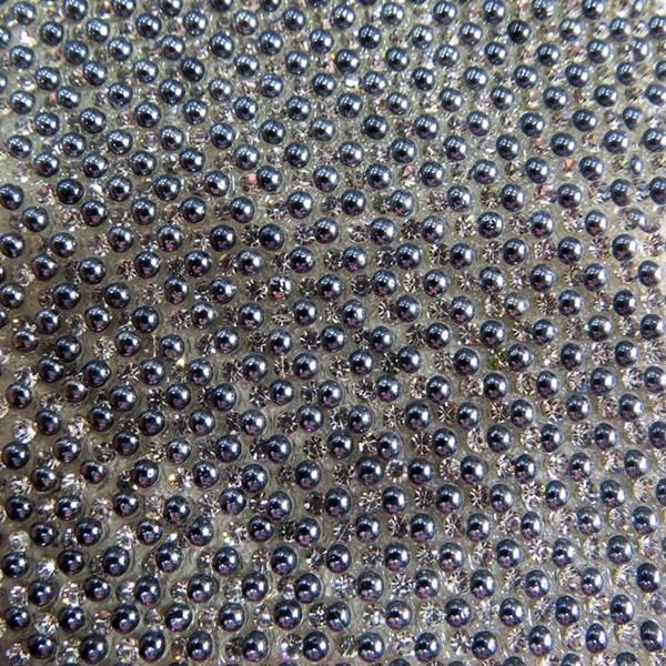 Manta de strass de bolinha hematita/ cristal- MS010