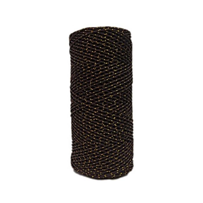 Cordão c/ nylon marrom escuro / dourado (10mts)- CDN008