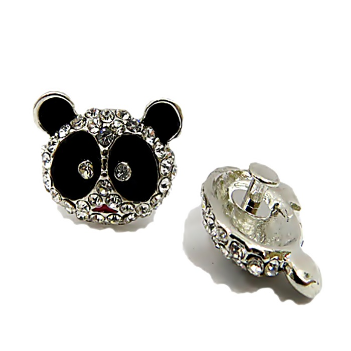 Piercing Panda níquel com strass (Par)- PIN019