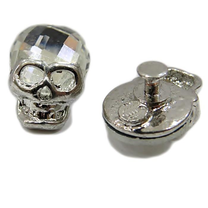 Piercing Caveira níquel c/ cabeça de cristal (Par)- PIN004