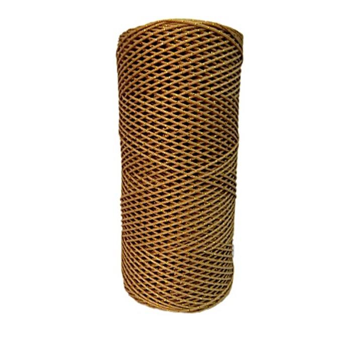 Cordão c/ nylon bege escuro / dourado (10mts)- CDN010