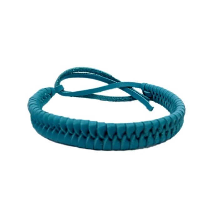 Pulseira de couro trançado azul turquesa- PUL010