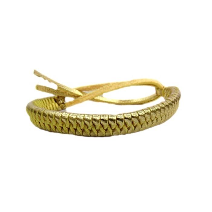 Pulseira de couro trançado dourado- PUL012
