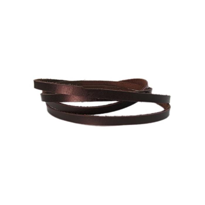 Couro achatado liso chocolate 5mm- COU003