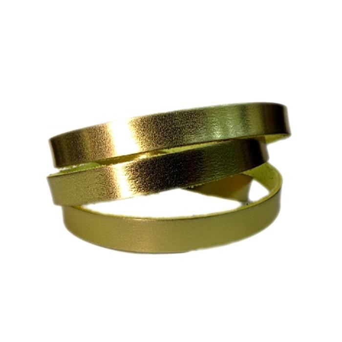 Couro achatado liso fino dourado 1cm- COU010