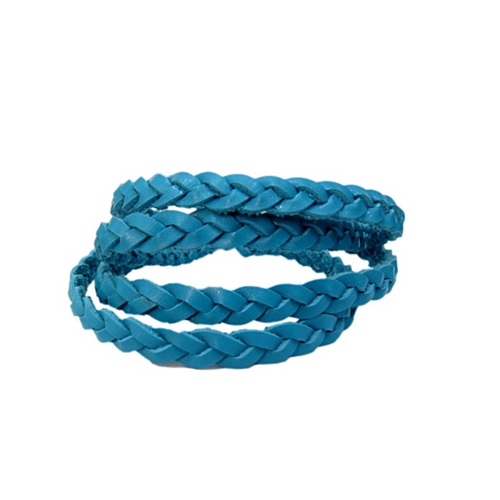 Couro trançado achatado azul turquesa- CT007