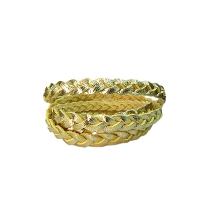 Couro trançado achatado dourado- CT012