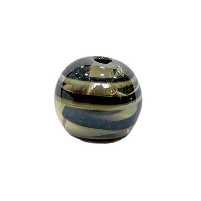 Bola de murano GG preto/ branco irisado- MU019