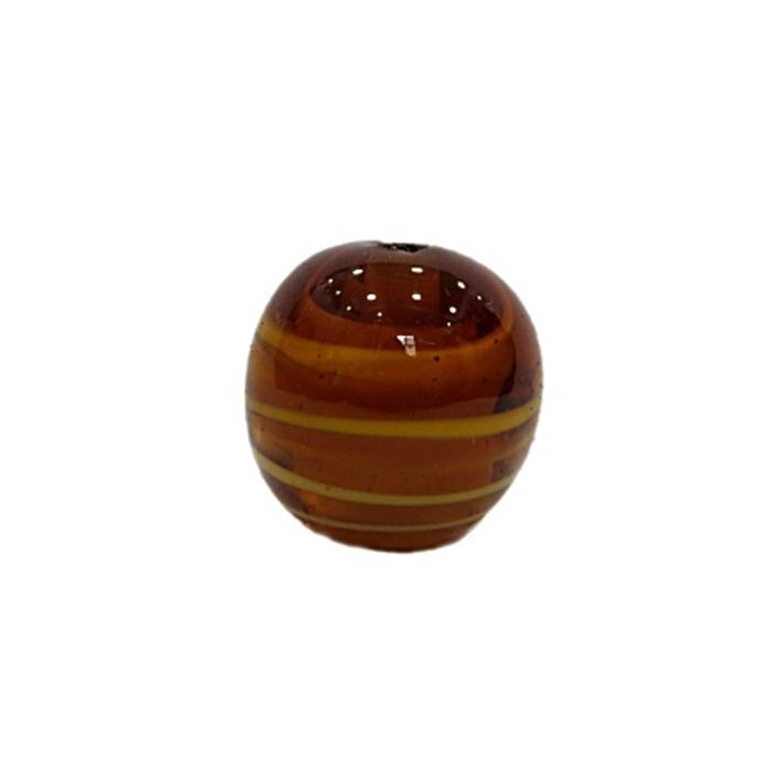 Bola de murano G ambar/ branco- MU041