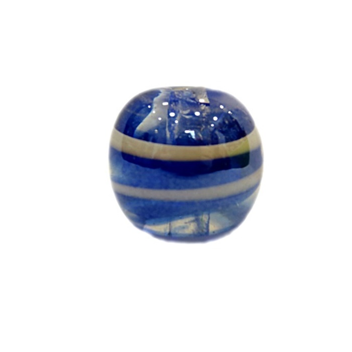 Bola de murano G  azulão/ branco irisado- MU049