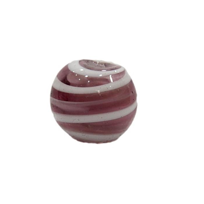 Bola de murano G  branco/ lilás- MU053
