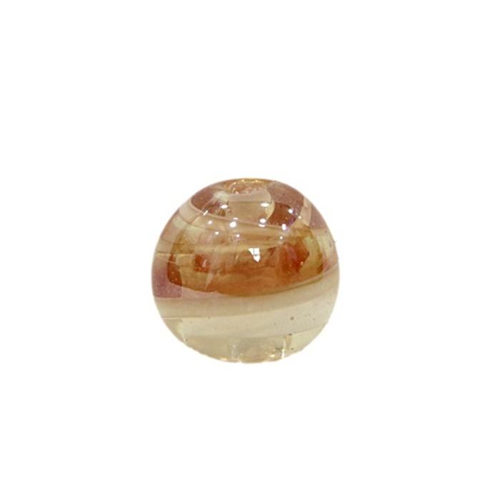 Bola de murano G  cristal/ branco irisado- MU055