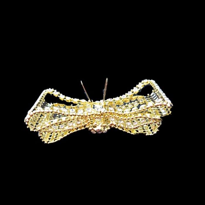 Entremeio dourado de garra laço duplo de strass- EG009