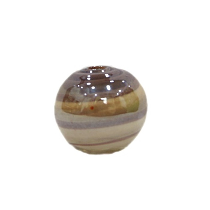 Bola de murano G  lilás/ branco irisado- MU061