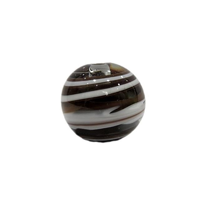 Bola de murano G  preto/branco- MU062