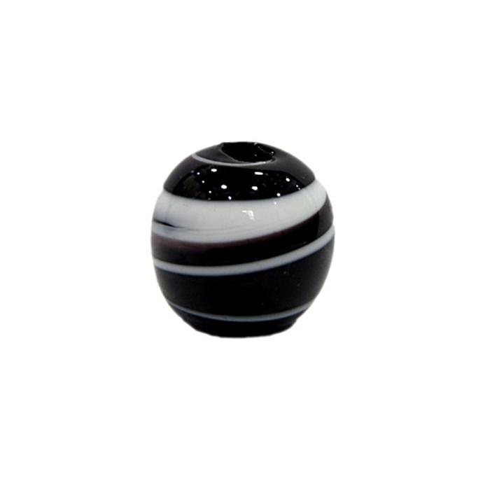 Bola de murano G preto/ branco- MU066