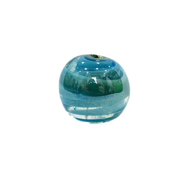 Bola de murano G azul turquesa irisado- MU073