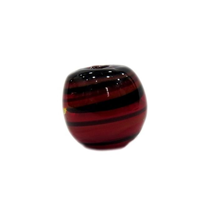 Bola de murano G vermelho/ preto- MU083