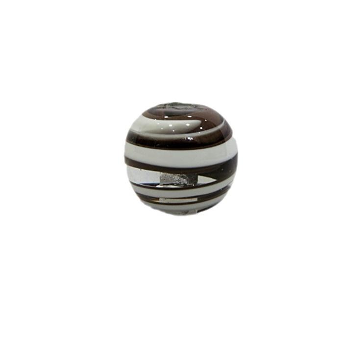 Bola de murano M marrom/ branca- MU091