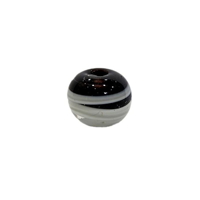 Bola de murano M preto/ branco- MU095