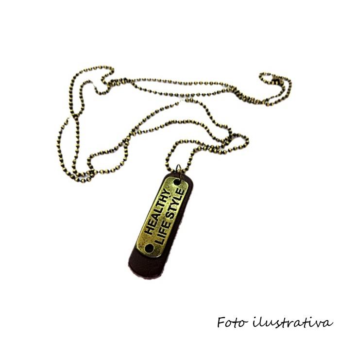 Pingente medalha fina de couro chocolate- PTO064