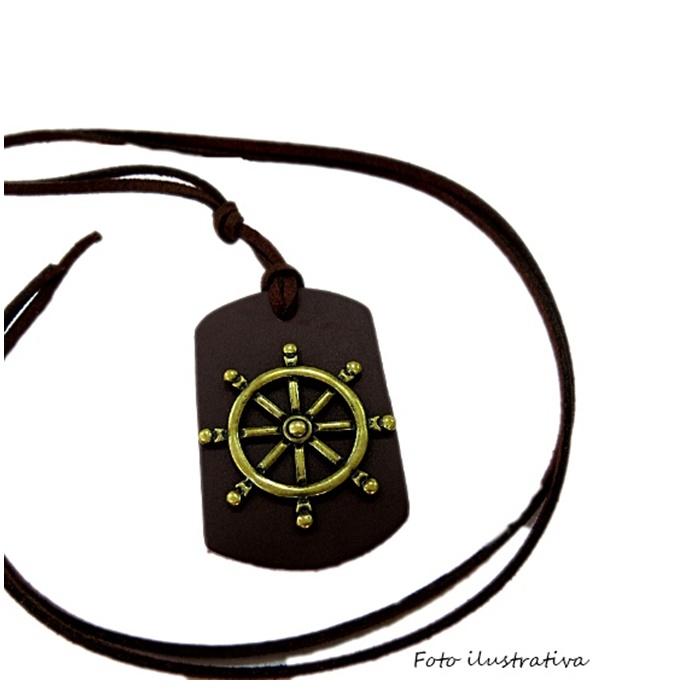 Pingente medalha larga de couro chocolate- PTO067