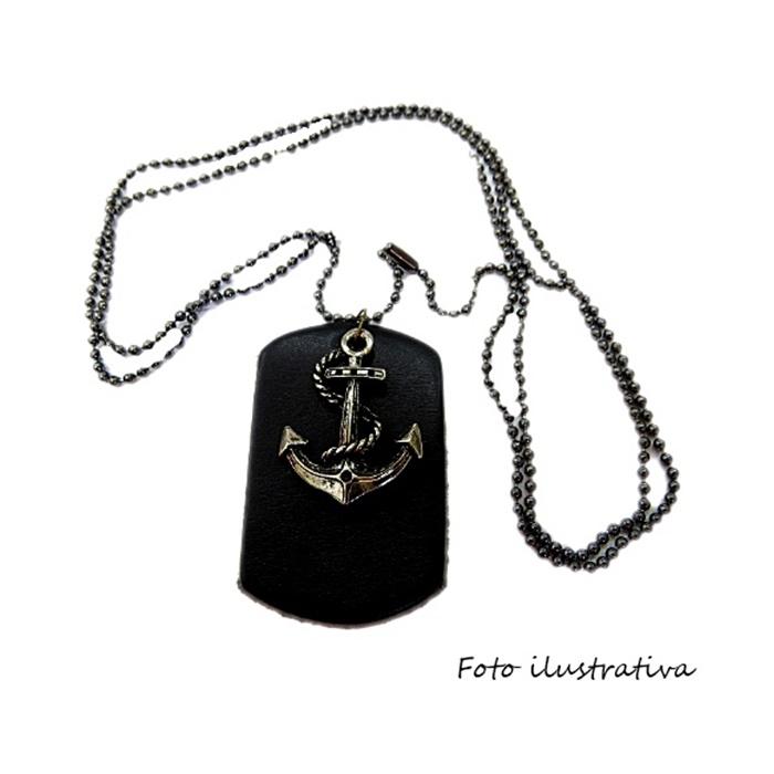 Pingente medalha larga de couro preto- PTO068