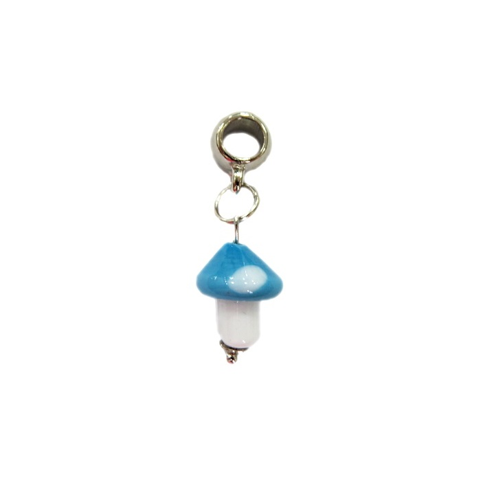 Berloque pingente níquel cogumelo de murano azul turquesa- BEN120