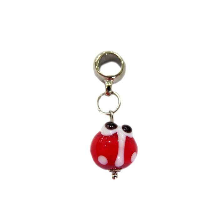 Berloque pingente níquel joaninha de murano vermelho- BEN165