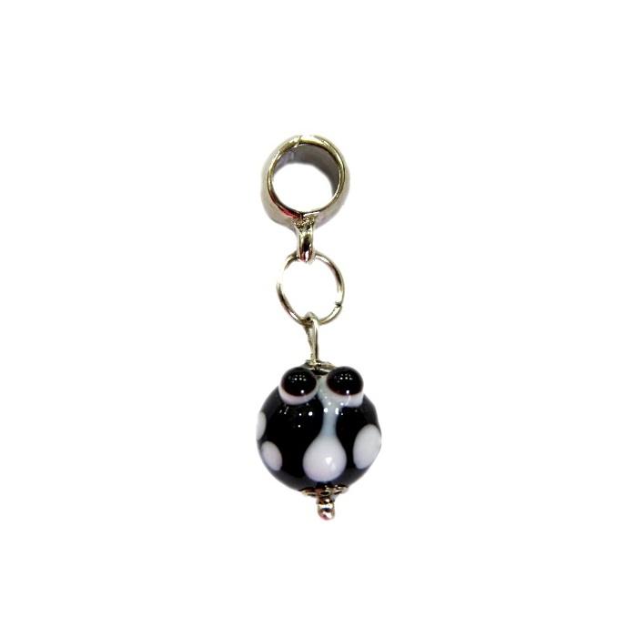 Berloque pingente níquel joaninha de murano preto- BEN167