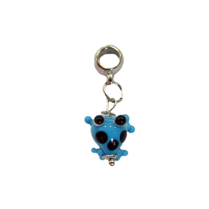Berloque pingente níquel sapinho de murano azul turquesa - BEN171