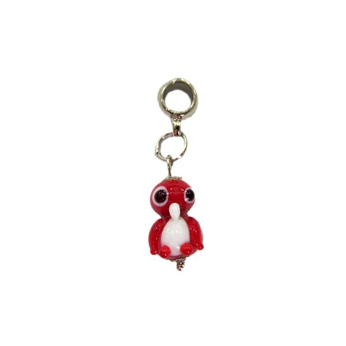 Berloque pingente níquel pinguim de murano vermelho- BEN175