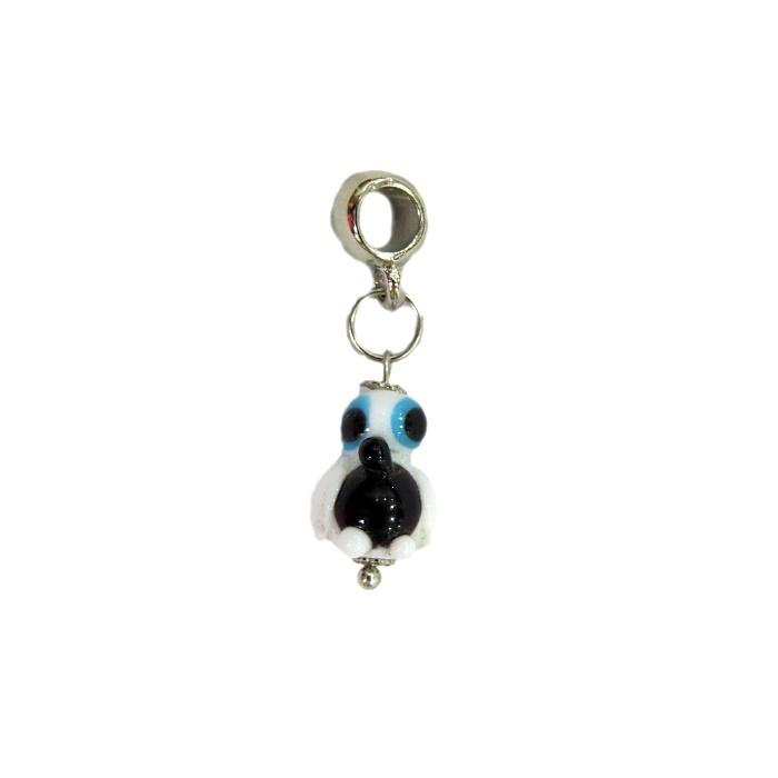 Berloque pingente níquel pinguim de murano branco- BEN176