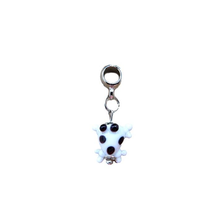 Berloque pingente níquel sapinho de murano branco - BEN178