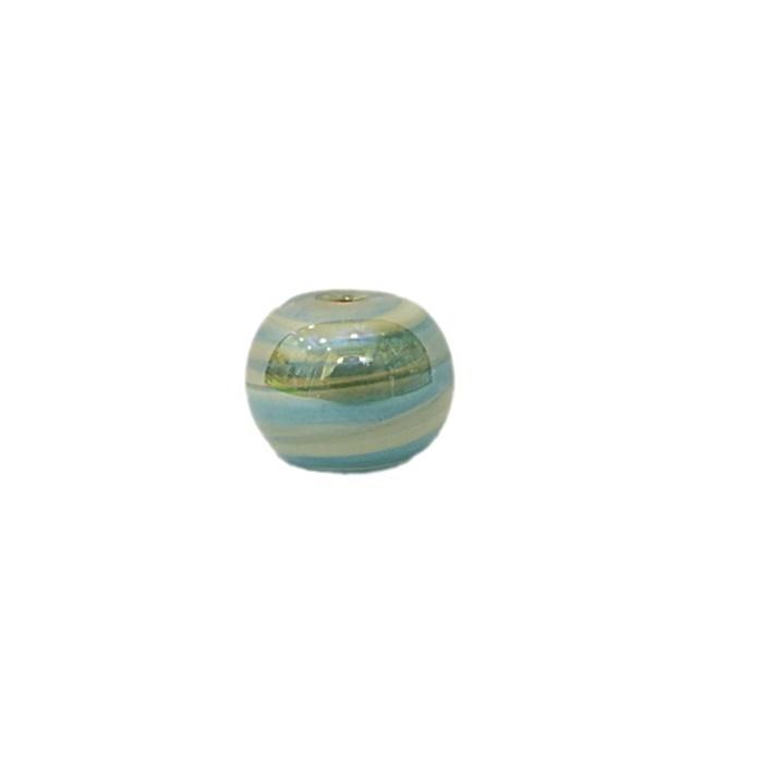 Bola de murano P turquesa/ branco irisado ( 10 unidades)- MU134