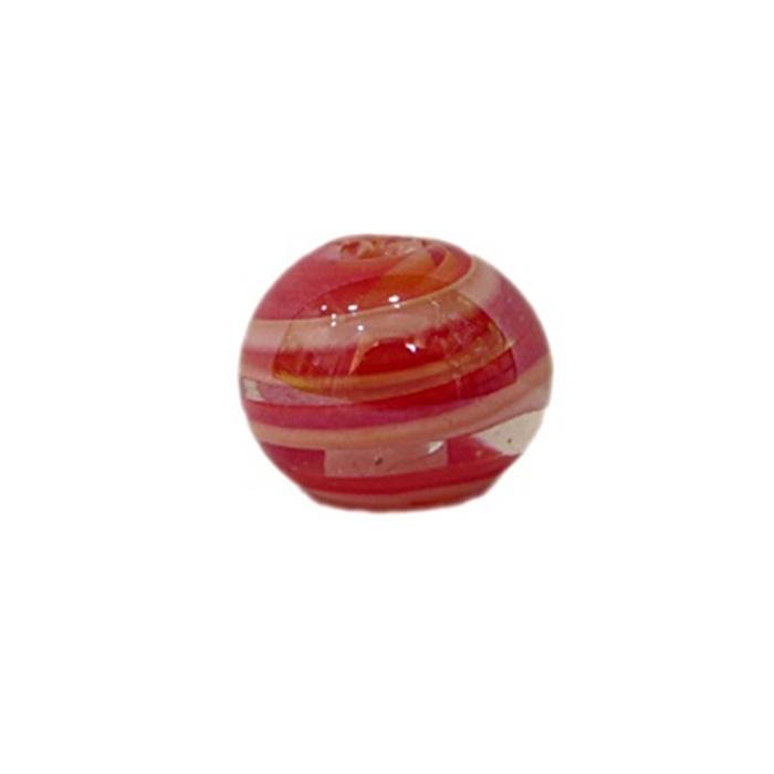 Bola de murano P vermelho/ branco irisado (10 unidades)- MU139