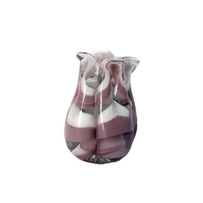 Tulipa de murano lilás/ branco- MU154