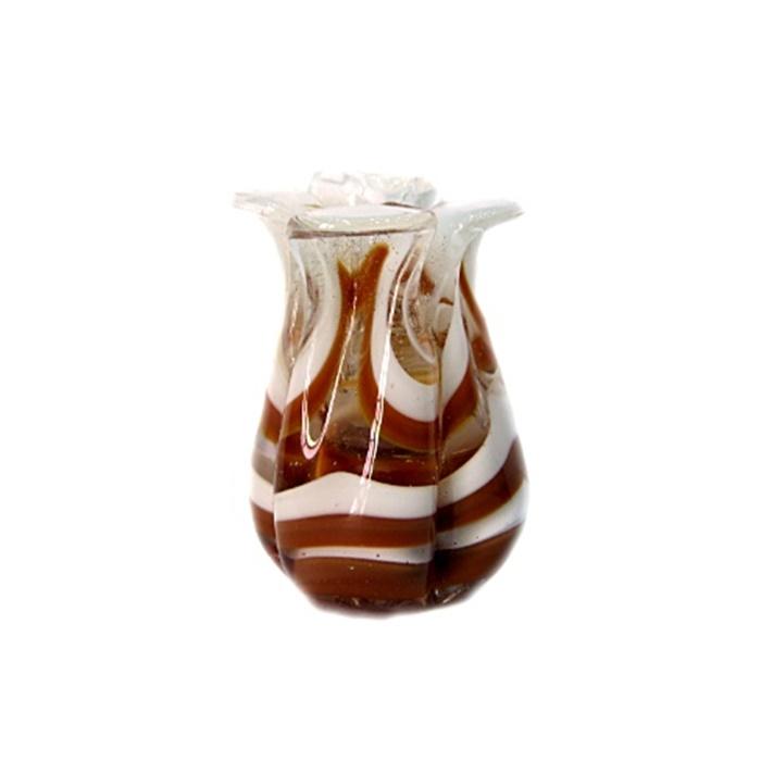 Tulipa de murano marrom/ branco- MU155