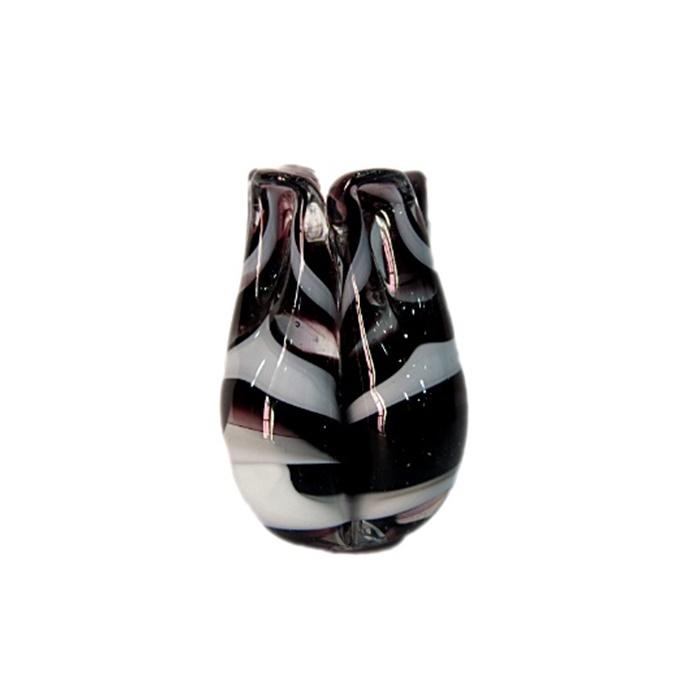 Tulipa de murano preto/ branco- MU157