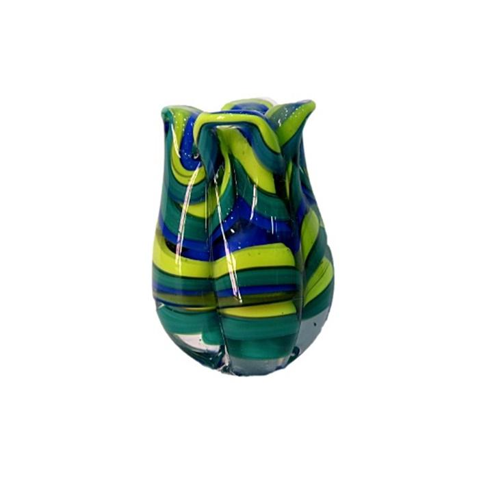 Tulipa de murano verde/ azul/ amarelo- MU170