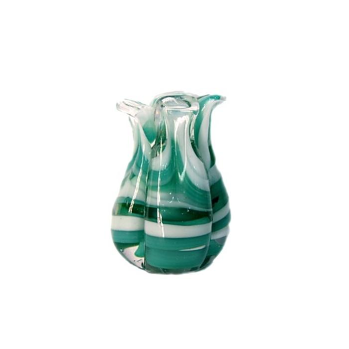 Tulipa de murano verde/ branco- MU171