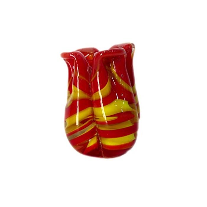 Tulipa de murano vermelho/ amarelo- MU172