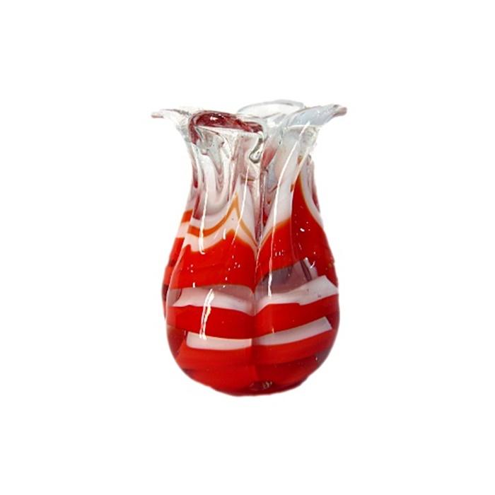 Tulipa de murano vermelha/ branco- MU175
